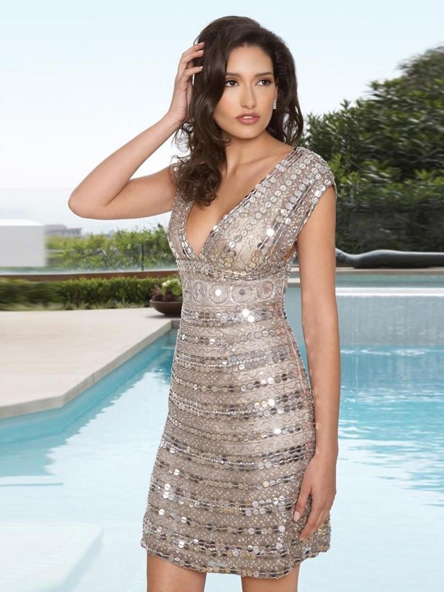 Designer Elegant Abendkleid Kurz Pailletten VertriebFormal Cool Abendkleid Kurz Pailletten Vertrieb