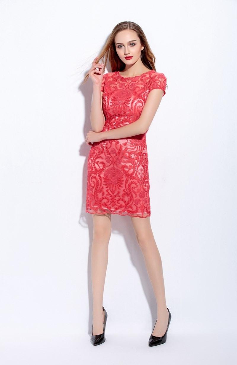 Abend Coolste Kleid Rot Spitze StylishAbend Genial Kleid Rot Spitze Boutique