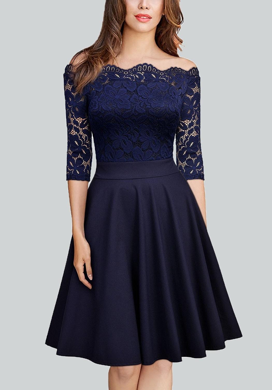 kleid dunkelblau knielang Archives - Abendkleid
