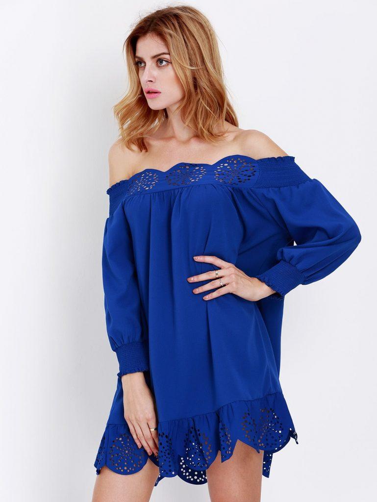 10 Luxus Kleid Blau Langarm Bester Preis - Abendkleid