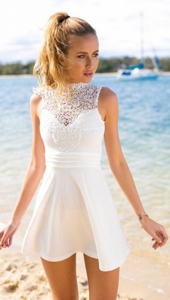 online store 8708e f83d9 13 Cool Weißes Kleid Elegant Ärmel - Abendkleid