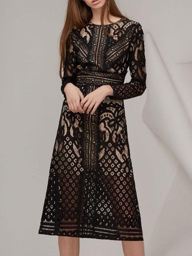 18 Großartig Midikleid Langarm Boutique - Abendkleid