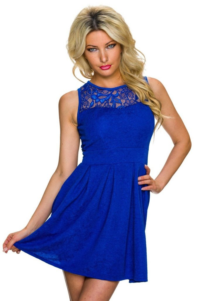 13 Luxurius Kleid Kurz Blau Vertrieb - Abendkleid