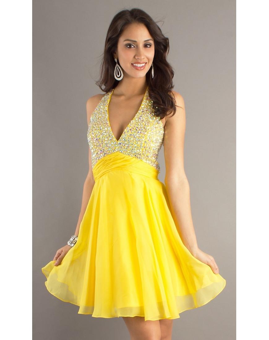 Formal Schön Kleid Gelb Kurz für 201915 Großartig Kleid Gelb Kurz Stylish