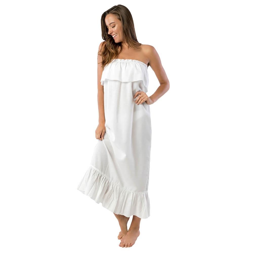 Formal Ausgezeichnet Sommerkleid Lang Weiß Ärmel13 Schön Sommerkleid Lang Weiß Design