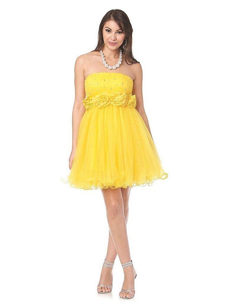 15 Großartig Kleid Gelb Kurz Design - Abendkleid