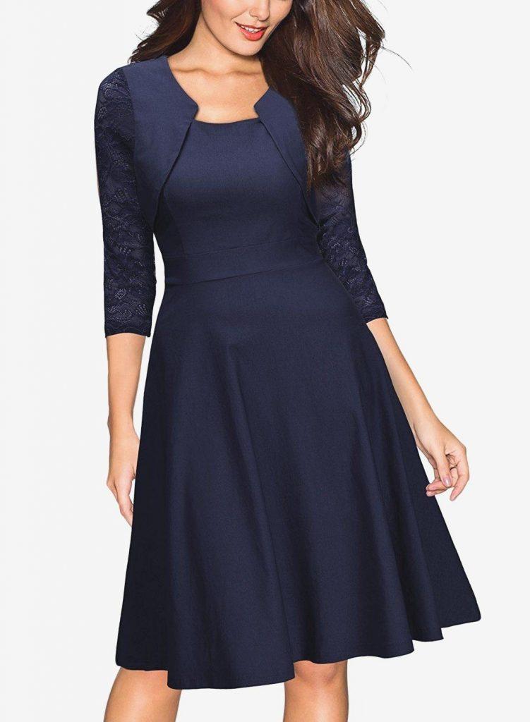 AUSVERKAUF Damen Kleid Abendkleid knielang Party elegant schick S L