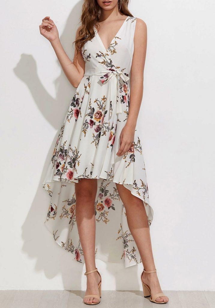 17 Ausgezeichnet Kleid Weiß Mit Blumen Ärmel - Abendkleid