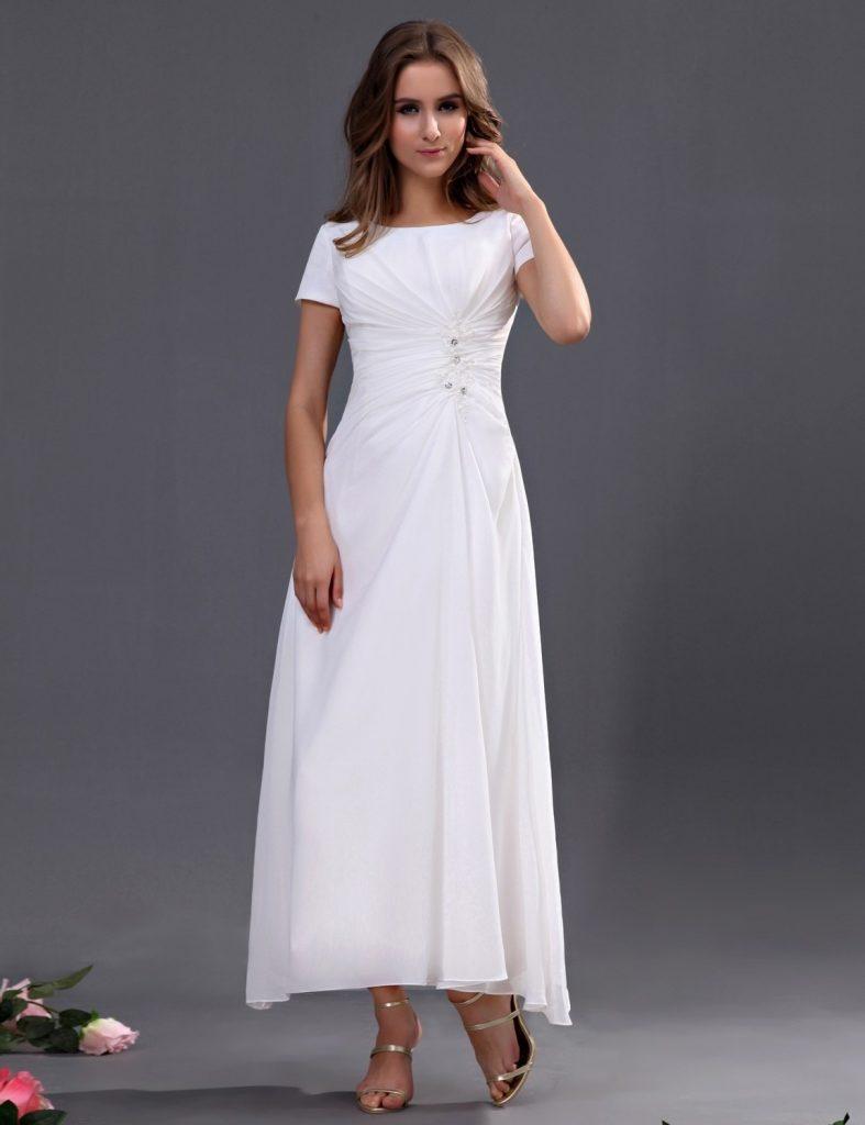 neue Version Neupreis begehrteste Mode 17 Fantastisch Weißes Kleid Mit Ärmeln für 2019 - Abendkleid