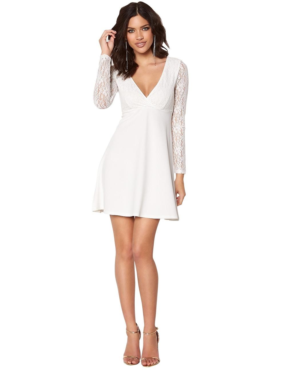 Perfekt Kleid Weiß Spitze Bester PreisAbend Perfekt Kleid Weiß Spitze Spezialgebiet