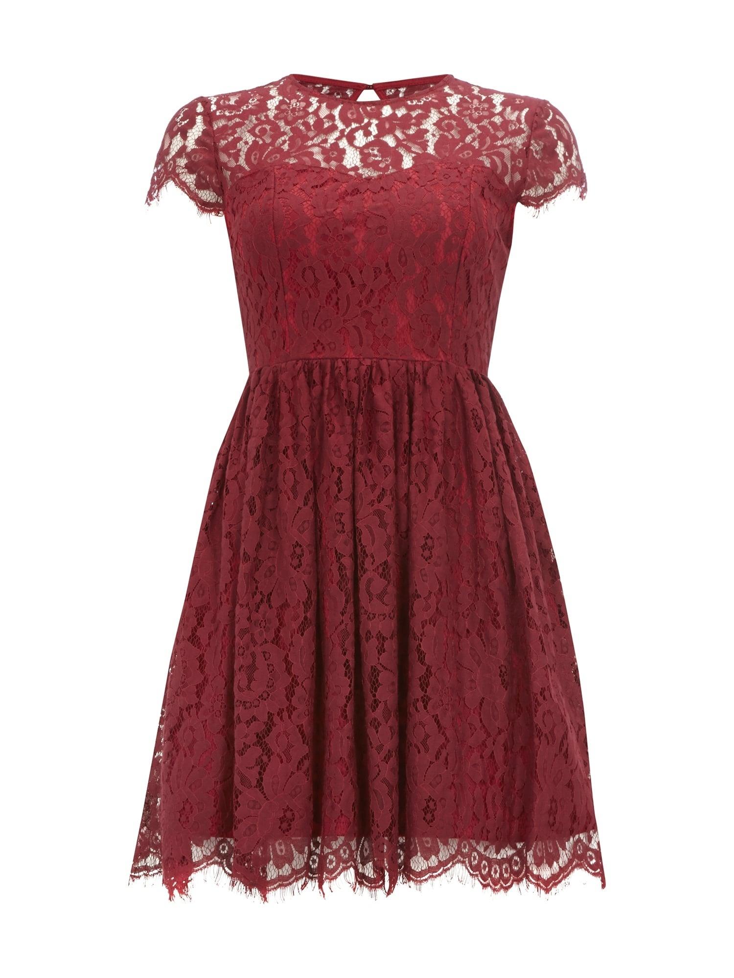 Designer Perfekt Bordeaux Kleid Spitze für 201920 Schön Bordeaux Kleid Spitze Design