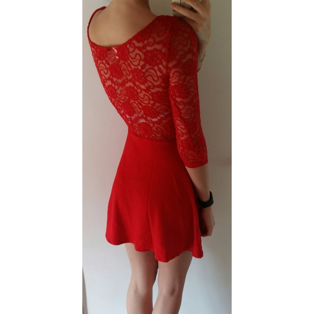 12 Top Kleid Rot Spitze Ärmel - Abendkleid