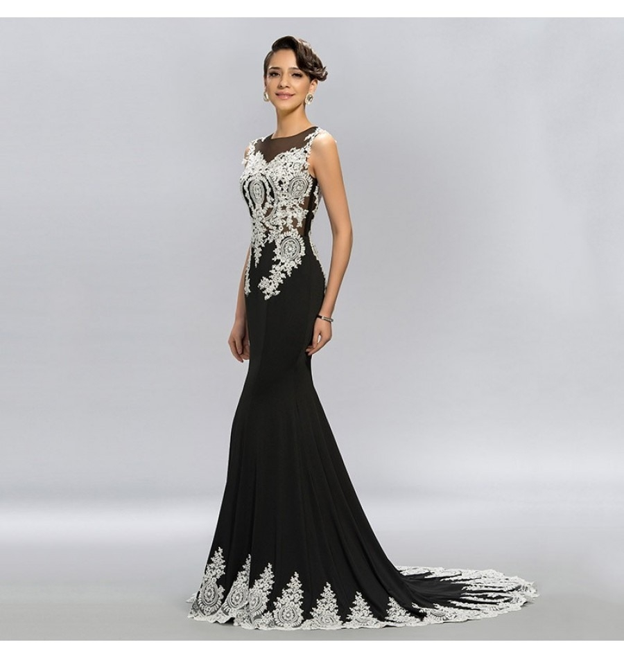 11 Genial Abendkleid Schwarz Weiß Lang Bester Preis - Abendkleid