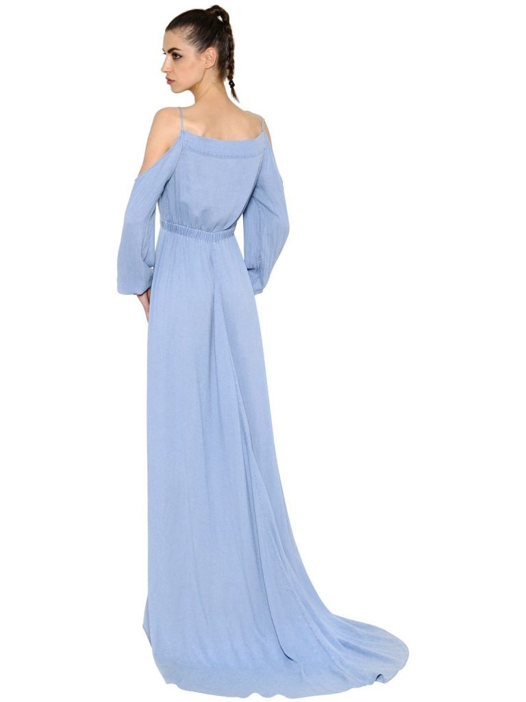 20 schön langes kleid hellblau Ärmel - abendkleid