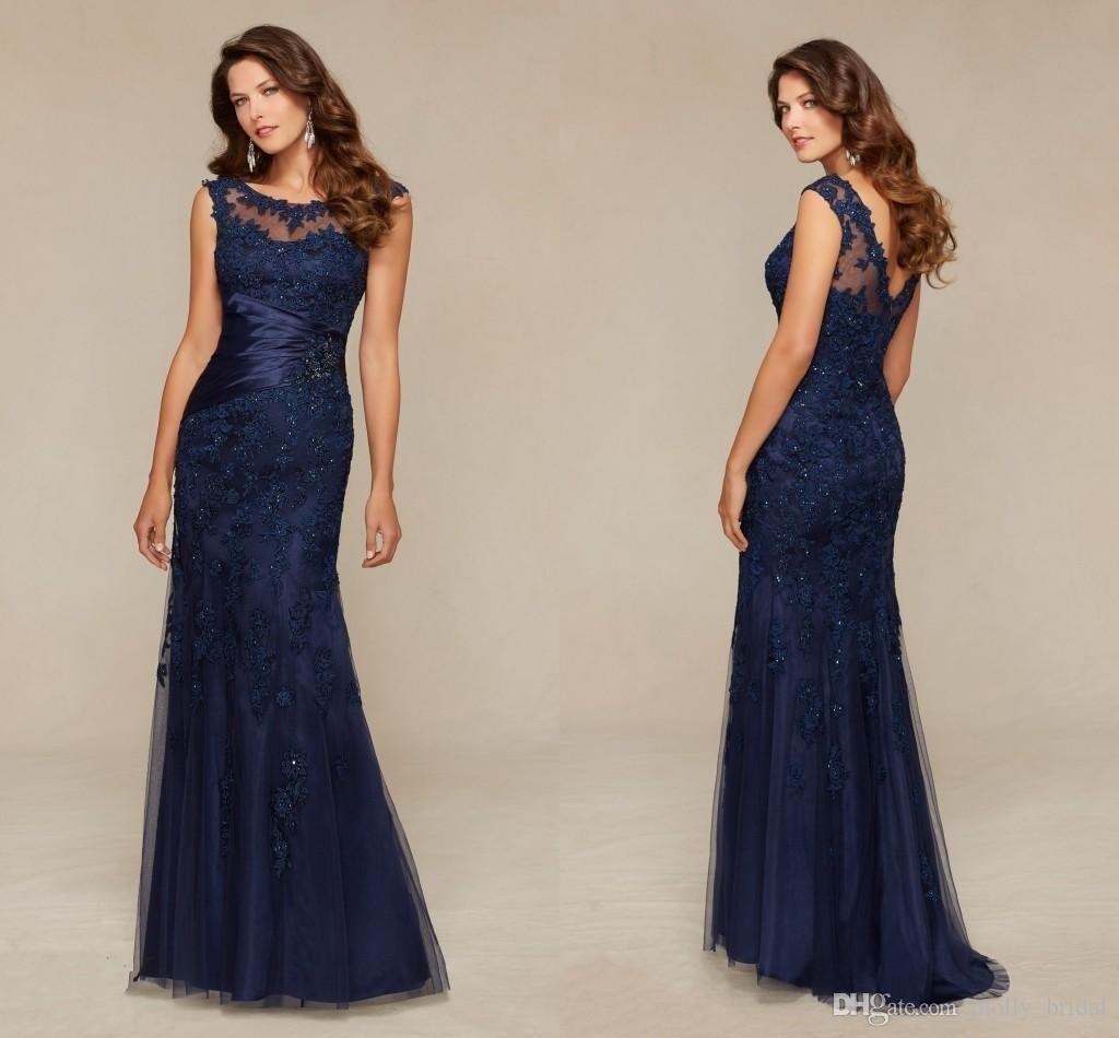 Abend Cool Kleid Dunkelblau Lang Spezialgebiet - Abendkleid