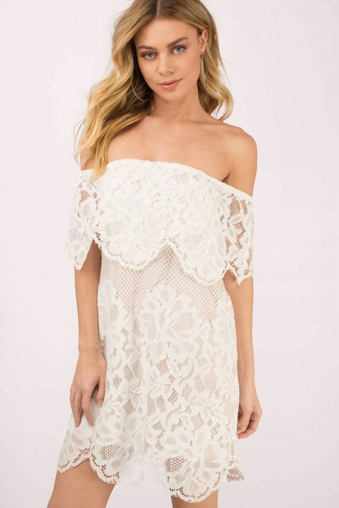 Abend Cool Kleid Kurz Weiß Spitze Ärmel - Abendkleid