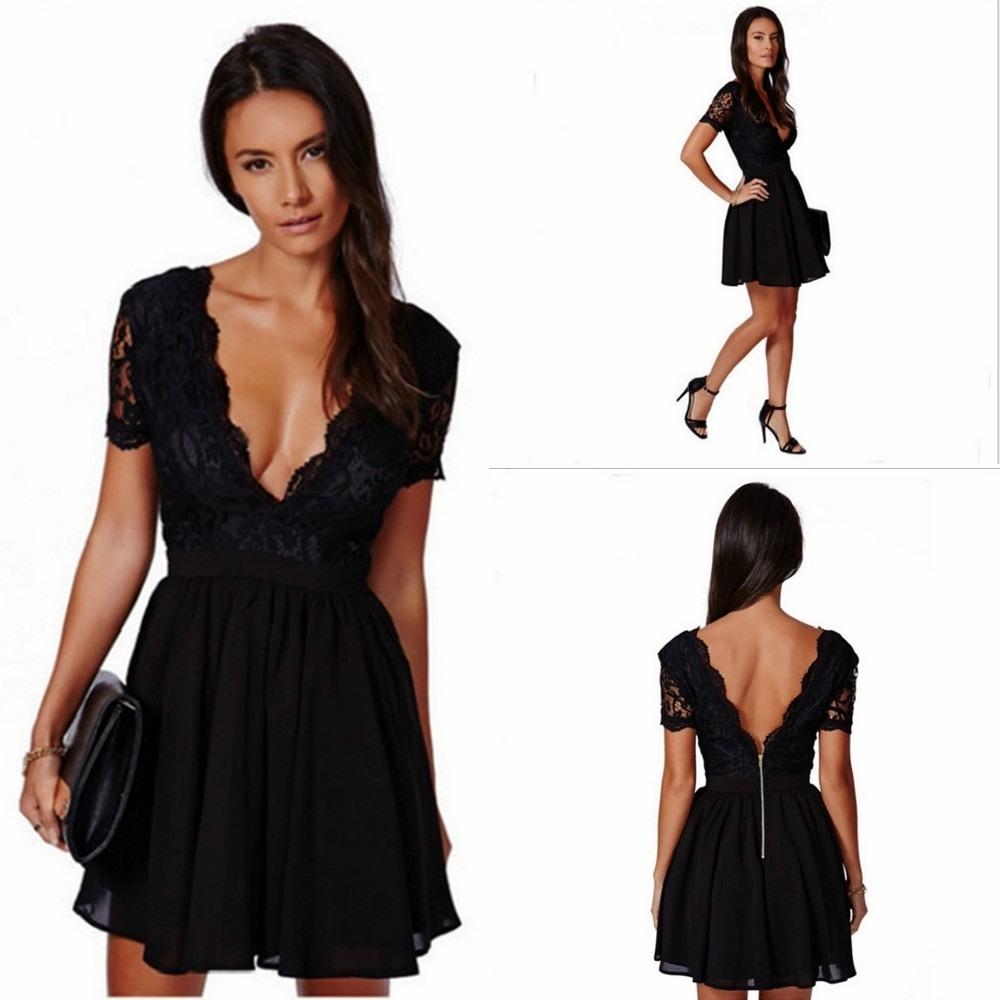 Abend Cool Schwarzes Kleid Spitze Spezialgebiet - Abendkleid