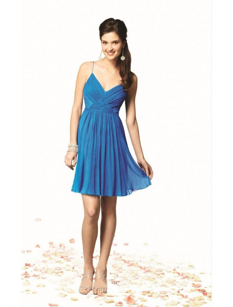 Abend Elegant Kleid Kurz Blau Bester Preis - Abendkleid