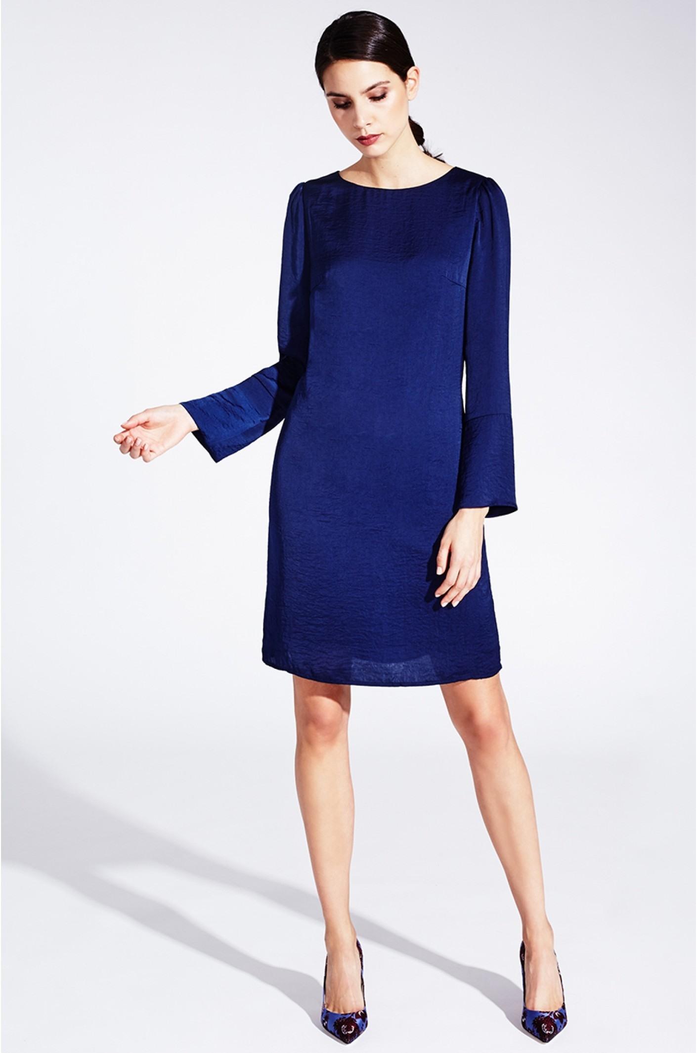 Formal Einfach Dunkelblaues Kleid Lang ÄrmelDesigner Schön Dunkelblaues Kleid Lang Design