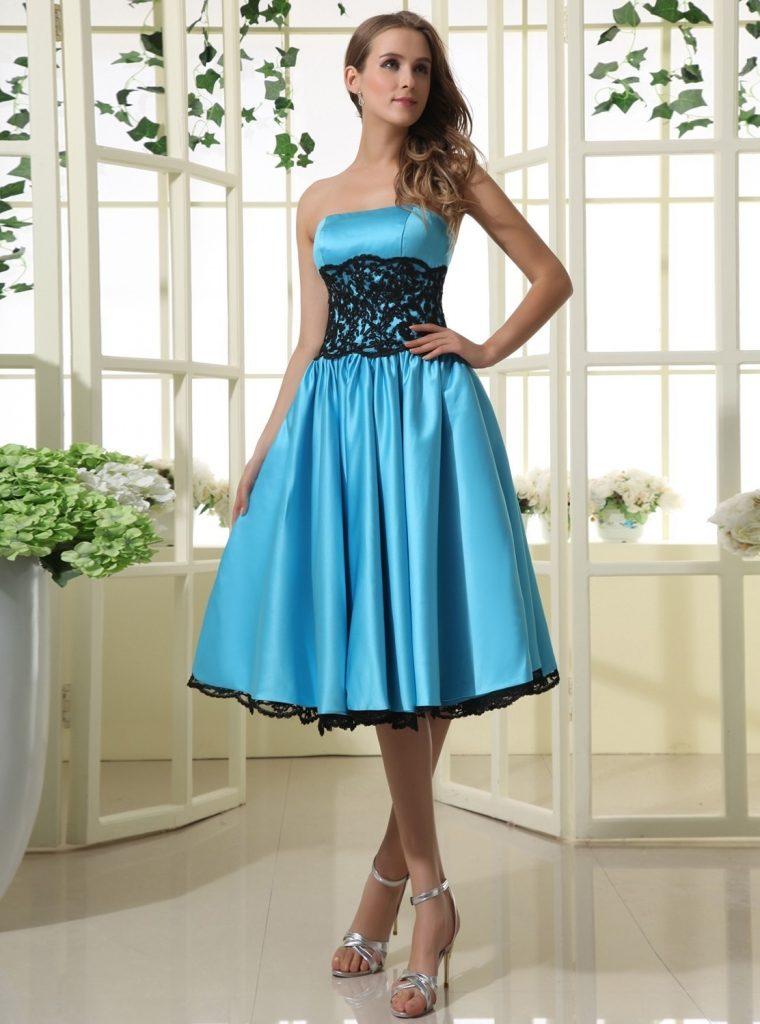 Abend Großartig Kleid Blau Kurz Ärmel - Abendkleid