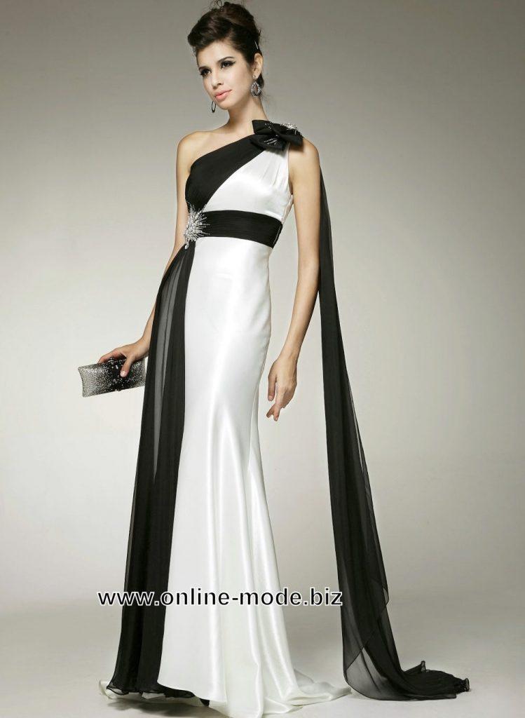 Abend Kreativ Abendkleid Schwarz Weiss Lang Stylish Abendkleid