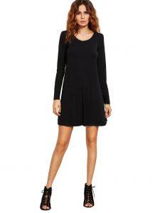 abend leicht schwarzes kleid kurz langarm stylish  abendkleid