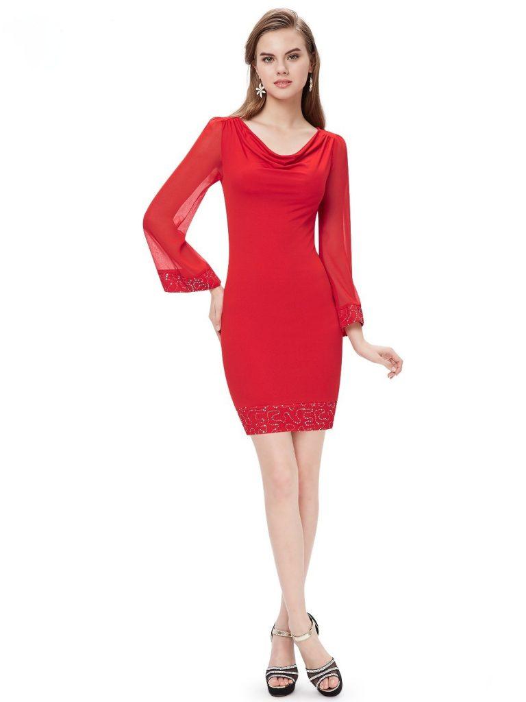 info for d02f5 46f66 Abend Schön Rotes Kleid Langarm Boutique - Abendkleid