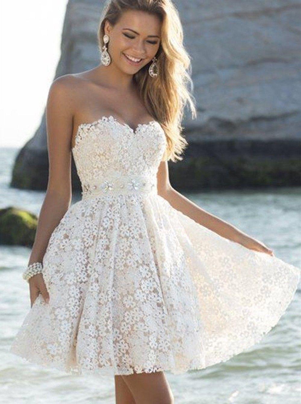 Abend Erstaunlich Kleid Kurz Weiß Spitze für 201915 Fantastisch Kleid Kurz Weiß Spitze Spezialgebiet