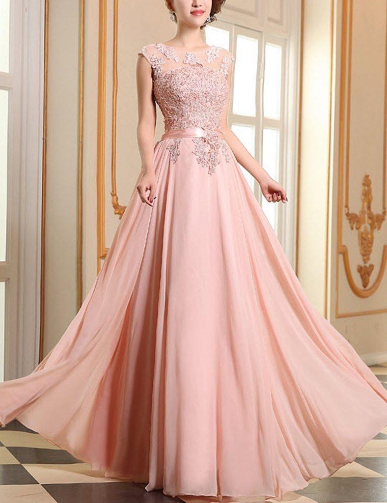 Abend Wunderbar Rosa Kleid Lang Spitze Design - Abendkleid