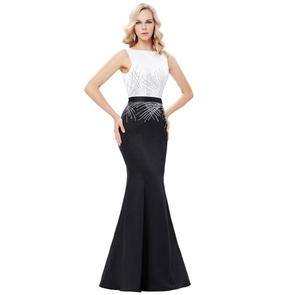 Designer Coolste Abendkleid Schwarz Weiß Lang Boutique - Abendkleid
