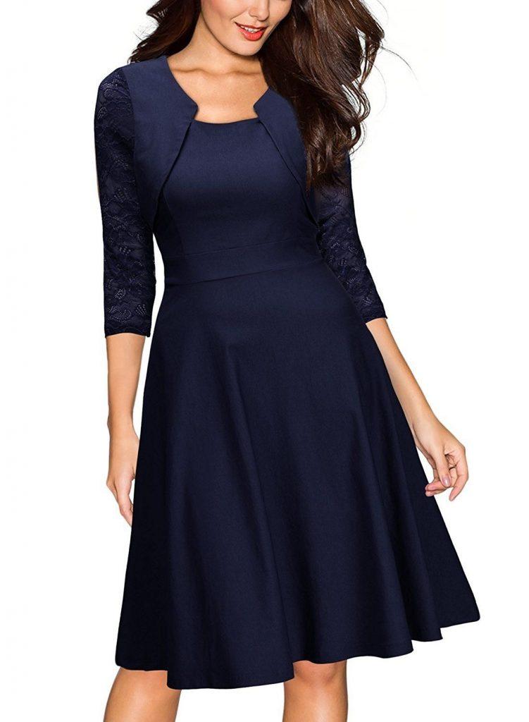 Mit spitze schuhe blaues kleid welche Blaues Kleid