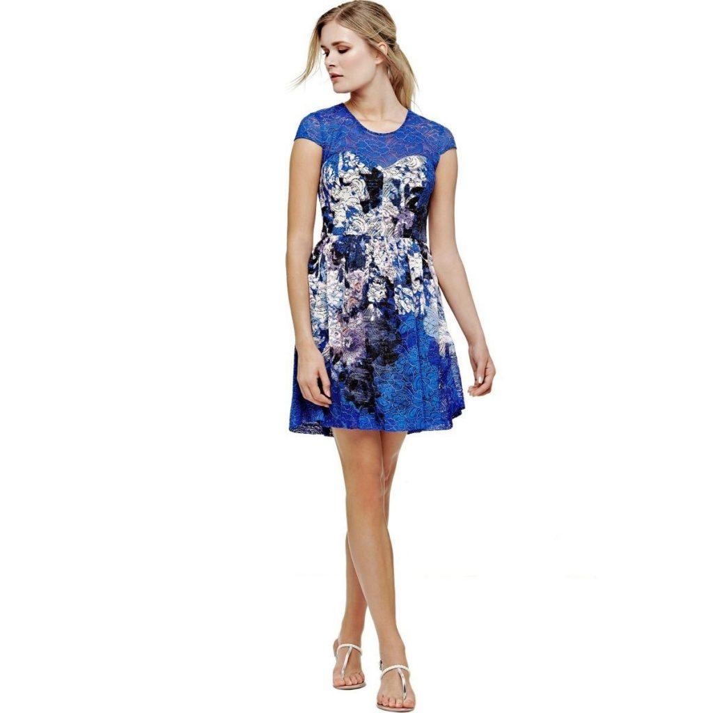 Designer Elegant Damen Kleider Blau Ärmel - Abendkleid