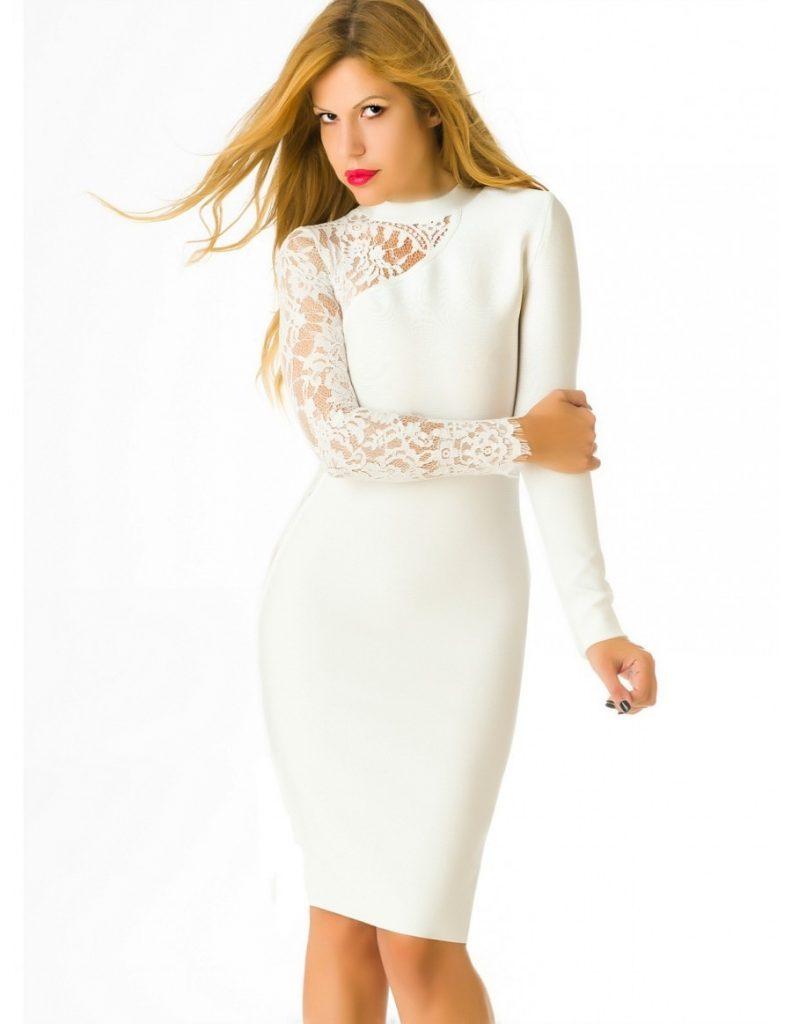 Designer Elegant Weißes Kleid Elegant für 20 - Abendkleid