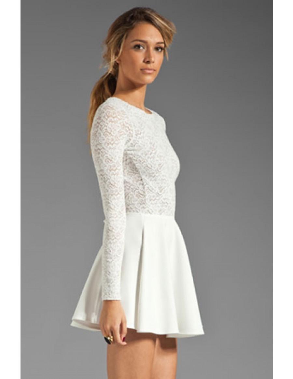 weißes langes kleid langarm Archives - Abendkleid