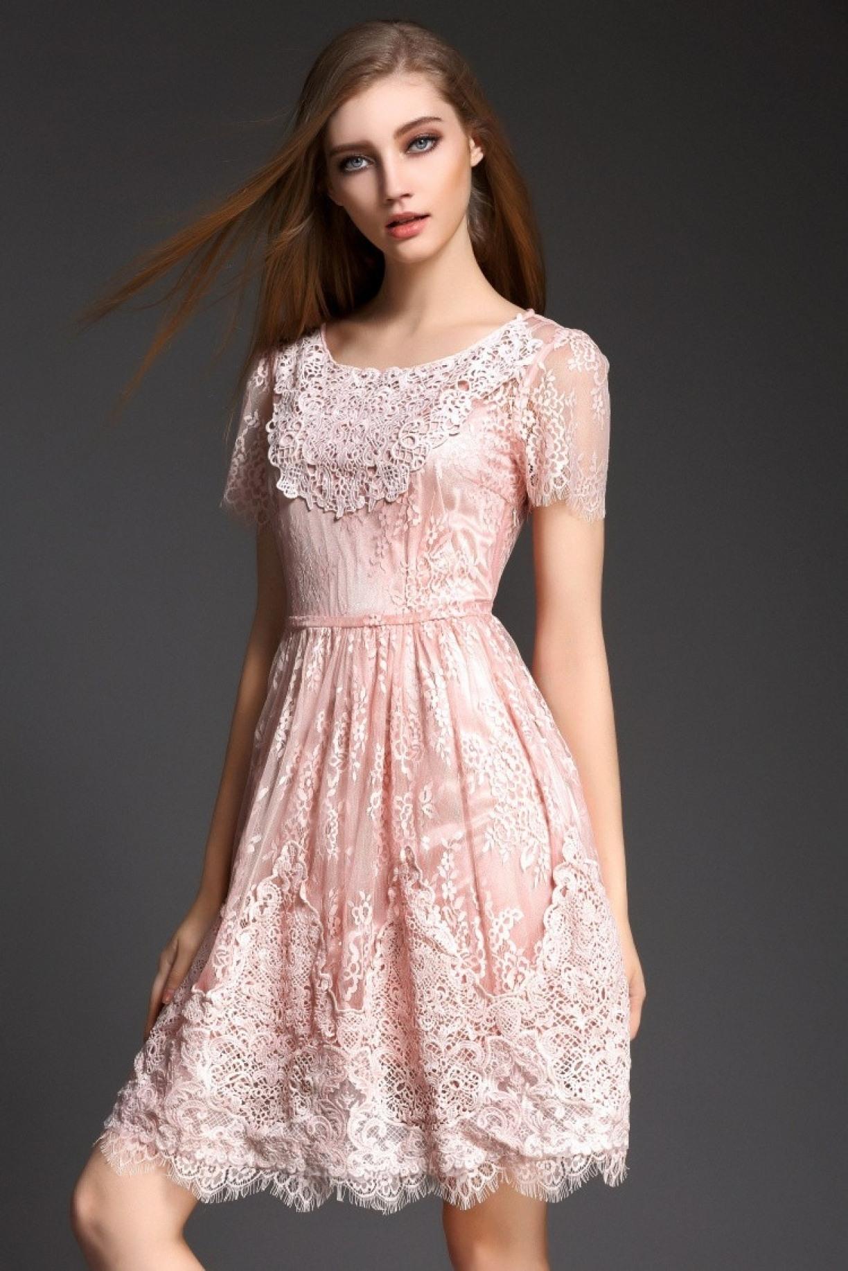 Designer Genial Altrosa Kleid Mit Spitze Ärmel Luxurius Altrosa Kleid Mit Spitze Stylish