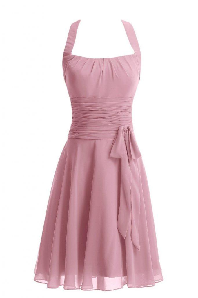 Designer Kreativ Kleid Altrosa Knielang Boutique - Abendkleid