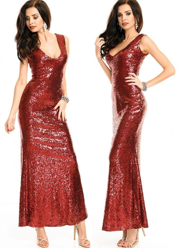 designer spektakulär abendkleid rot glitzer Ärmel  abendkleid
