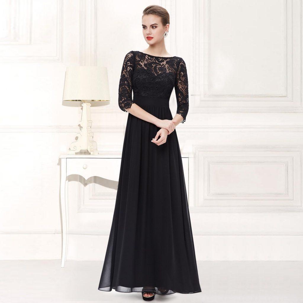 Designer Top Abendkleider Lang Schwarz Ärmel - Abendkleid