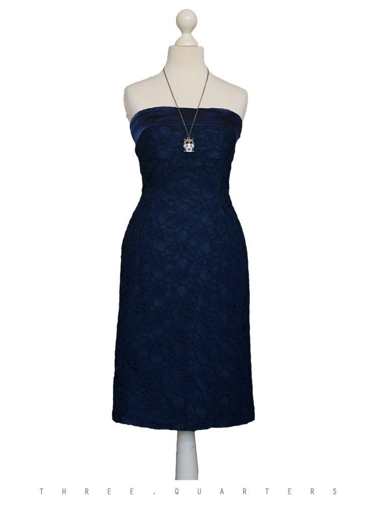 Wählen Sie für späteste Gutscheincode strukturelle Behinderungen Designer Top Kleid Dunkelblau Spitze Design - Abendkleid
