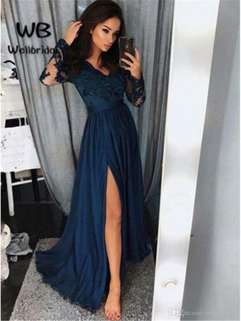 Designer Wunderbar Dunkelblaues Langes Kleid Stylish - Abendkleid