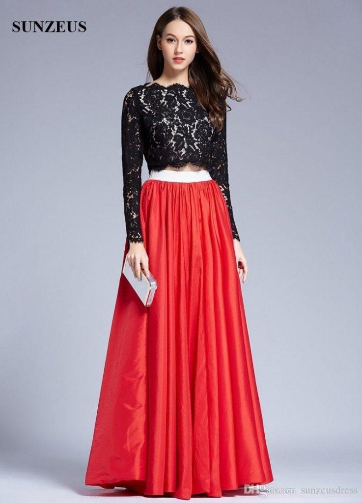Einfach Abendkleider Lang Spitze Rot Stylish - Abendkleid