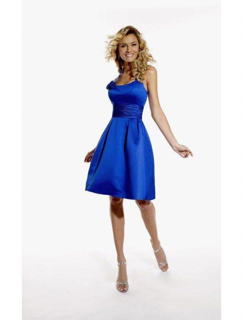 Formal Cool Blaues Kleid Kurz Spezialgebiet - Abendkleid