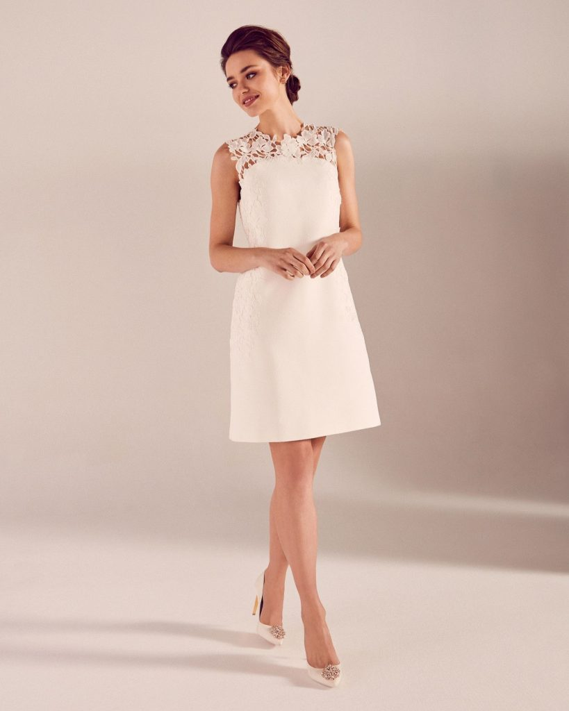 formal cool kleid kurz weiß spitze Ärmel - abendkleid