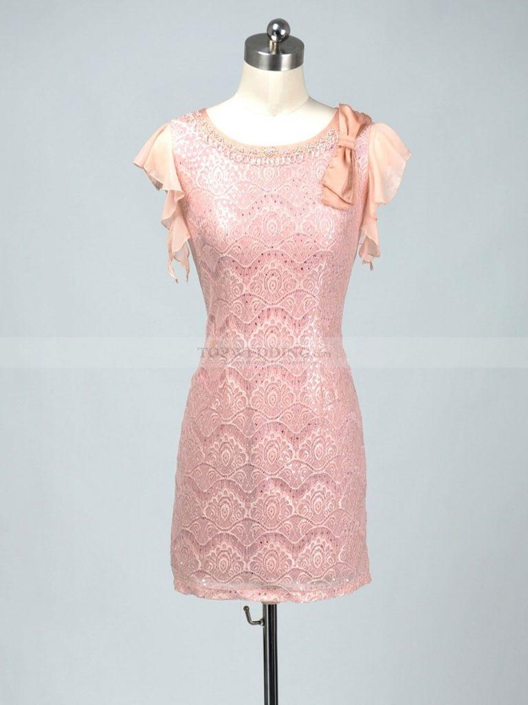 Formal Cool Rosa Kleid Mit Spitze Spezialgebiet - Abendkleid
