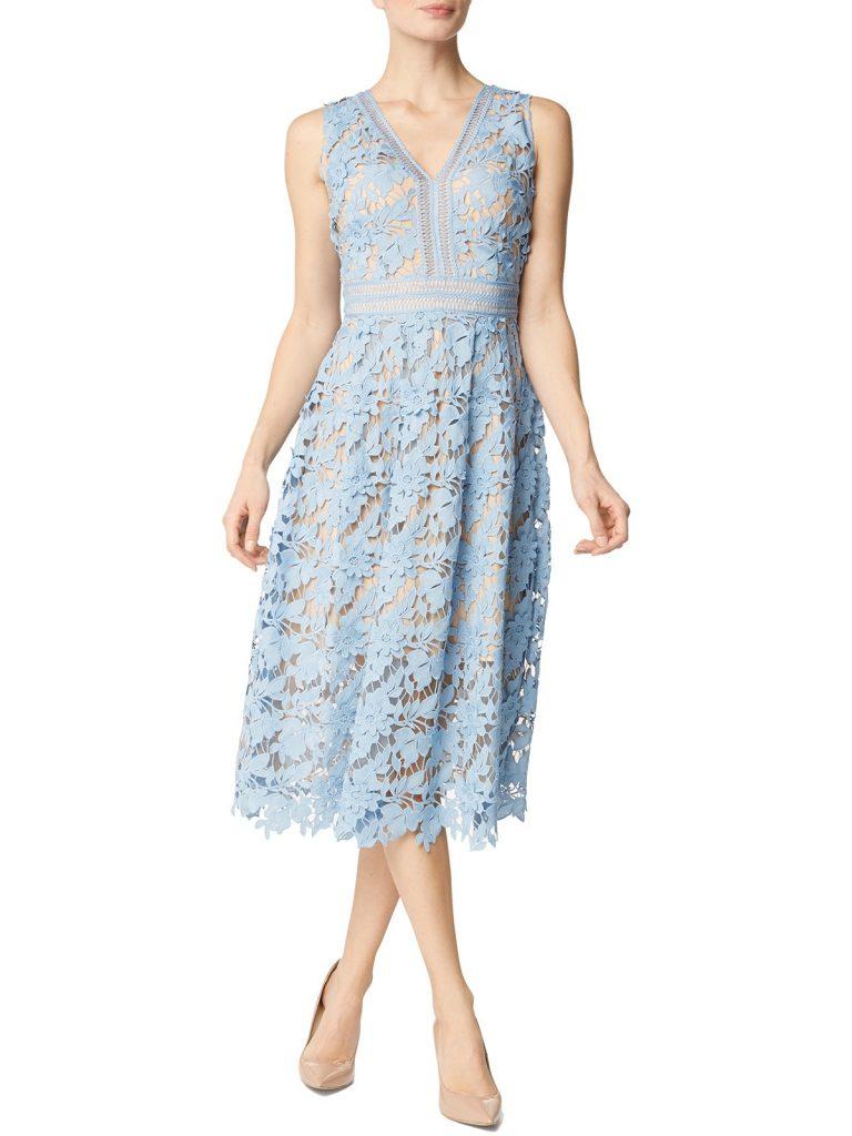 Formal Coolste Kleid Hellblau Spitze Ärmel - Abendkleid