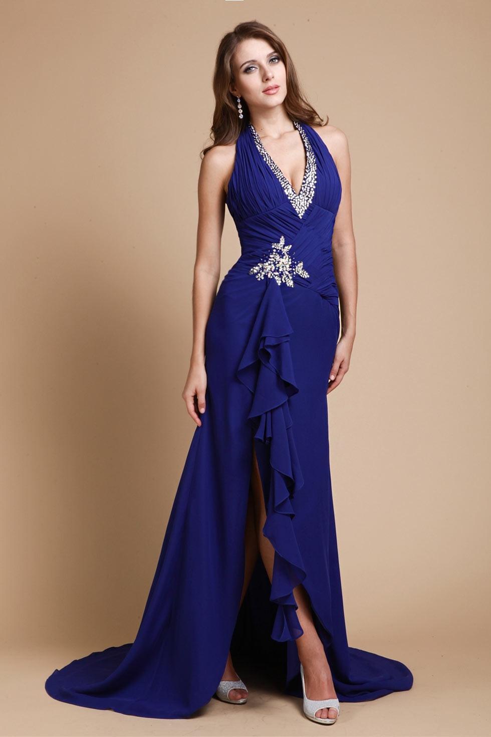 Formal Einfach Dunkelblaues Langes Kleid Vertrieb - Abendkleid