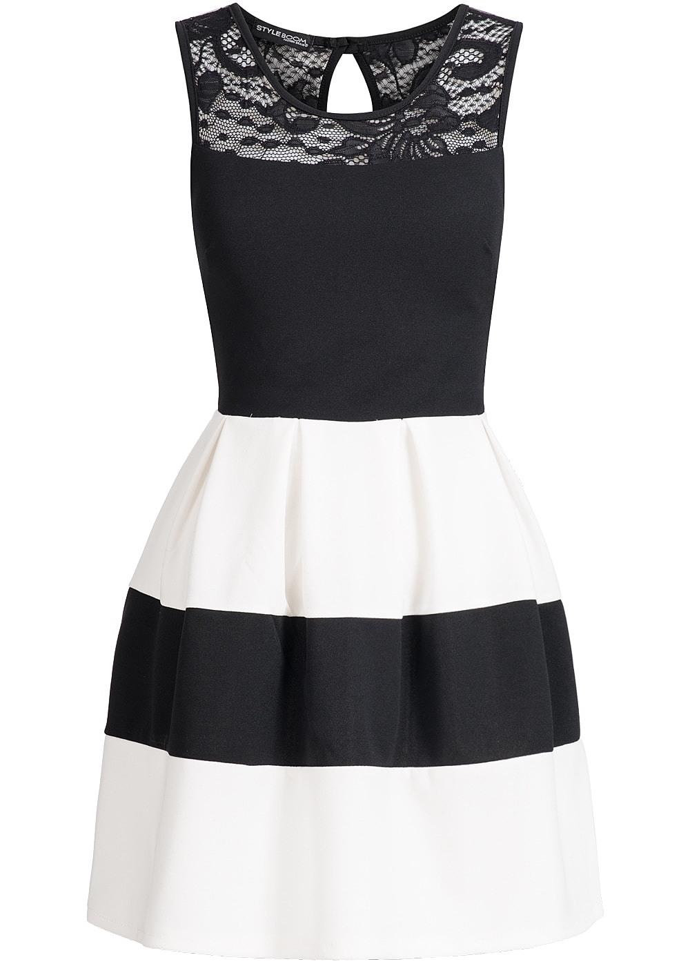 Abend Spektakulär Kleider Weiß Schwarz Ärmel10 Großartig Kleider Weiß Schwarz Design