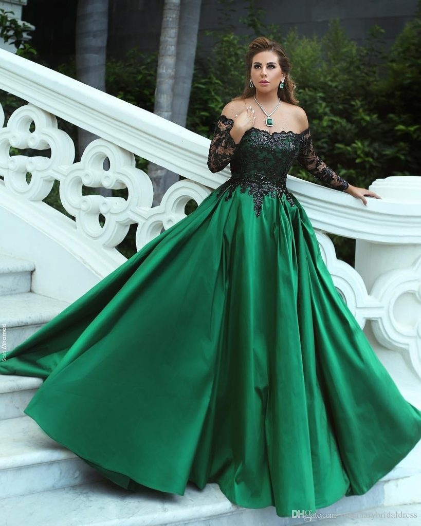 Formal Elegant Kleid Dunkelgrün Langarm Galerie - Abendkleid