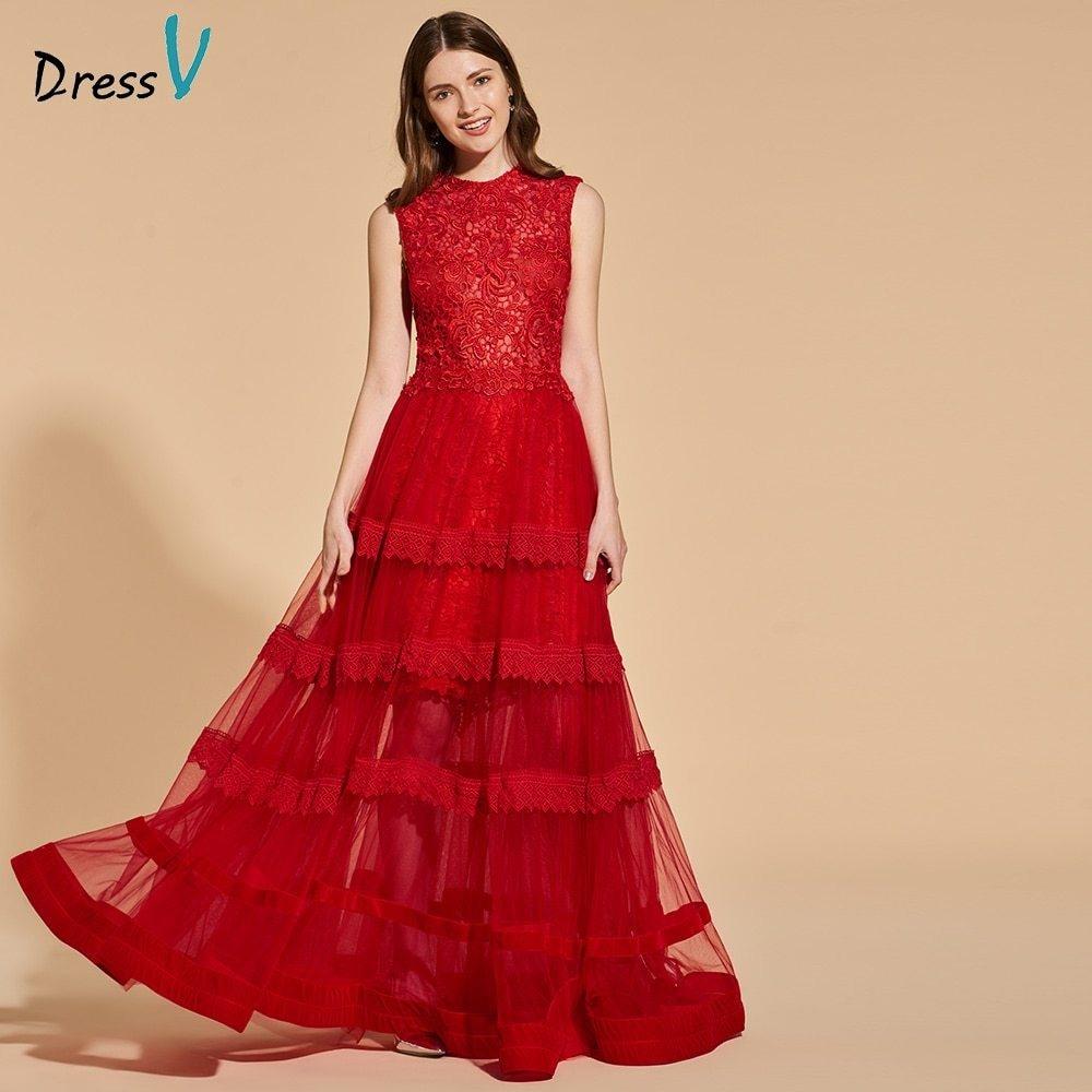 Genial Abendkleid Rot Lang Spitze GalerieDesigner Schön Abendkleid Rot Lang Spitze Design