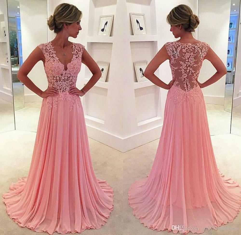Schön Rosa Kleid Lang Spitze Ärmel13 Luxurius Rosa Kleid Lang Spitze Bester Preis